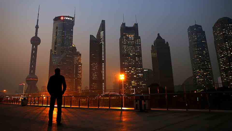 A man looks at the Pudong financial district of Shanghai November 20, 2013.